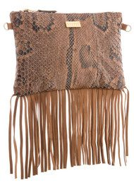 Black & Brown  Lyla Snakeskin Fringe Bag - Natural