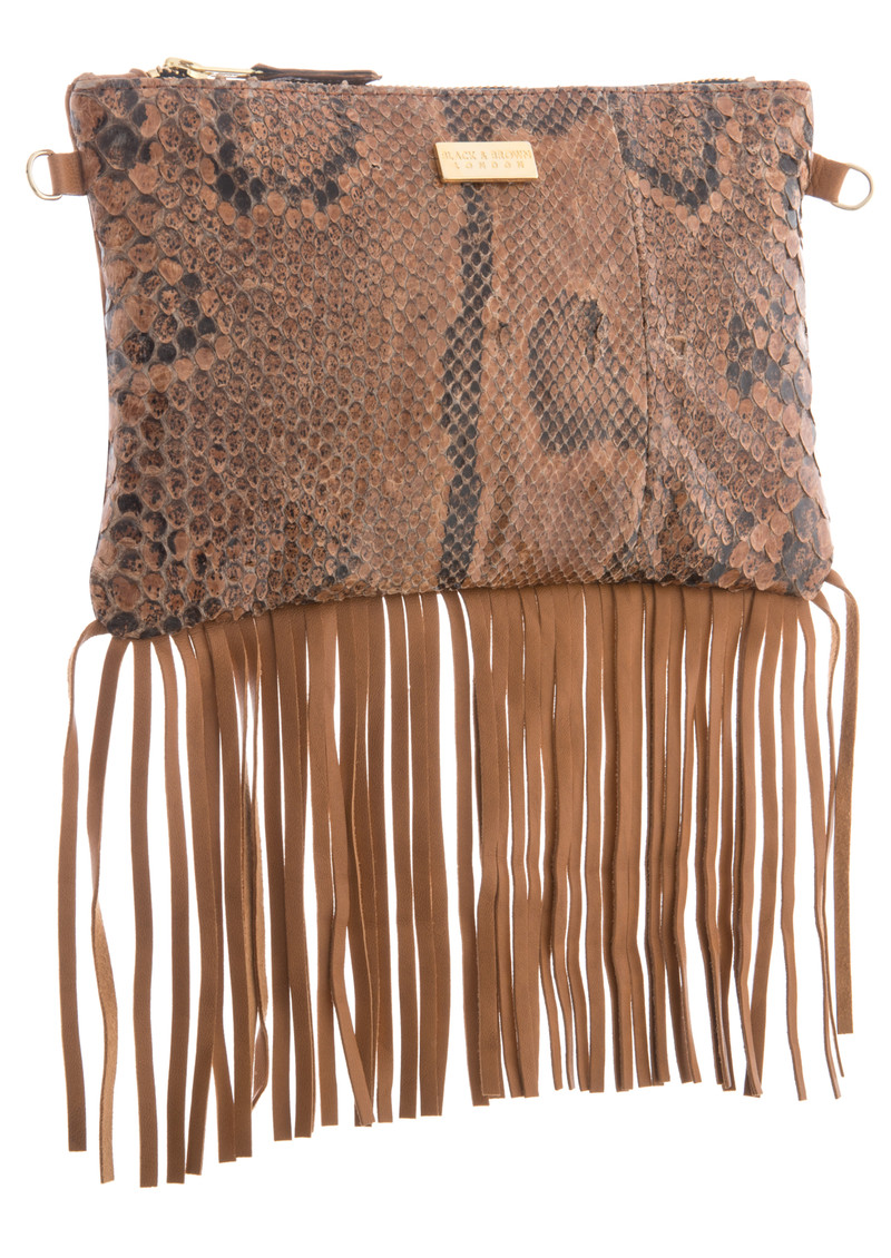 Black & Brown  Lyla Snakeskin Fringe Bag - Natural main image
