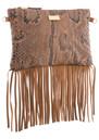 Black & Brown  Lyla Snakeskin Fringe Bag - Natural