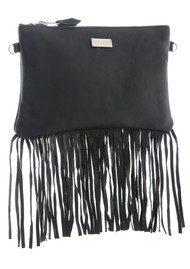Black & Brown  Lyla Leather Fringe Bag - Black
