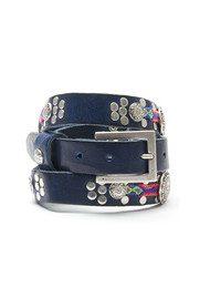 WAITZ Aztec Style Narrow Leather Belt - Navy