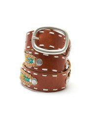 WAITZ Aztec Style Wide Leather Belt - Tan