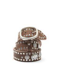 WAITZ Aztec Style Wide Leather Belt - Dark Brown