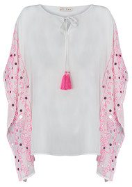 BLUE PEARL Baila Poncho - White & Pink