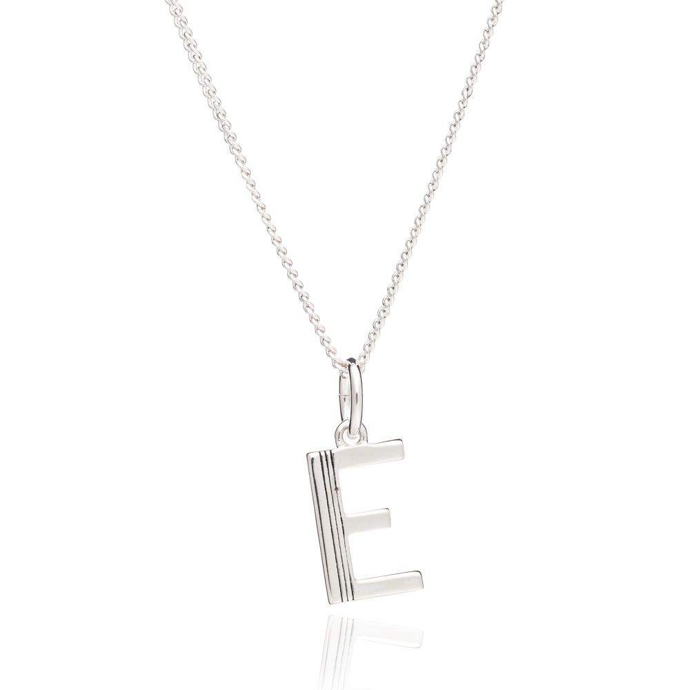 This Is Me 'E' Alphabet Necklace - Silver