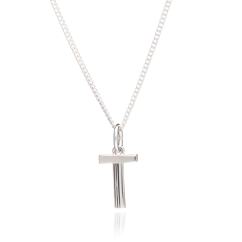 This Is Me 'T' Alphabet Necklace - Silver