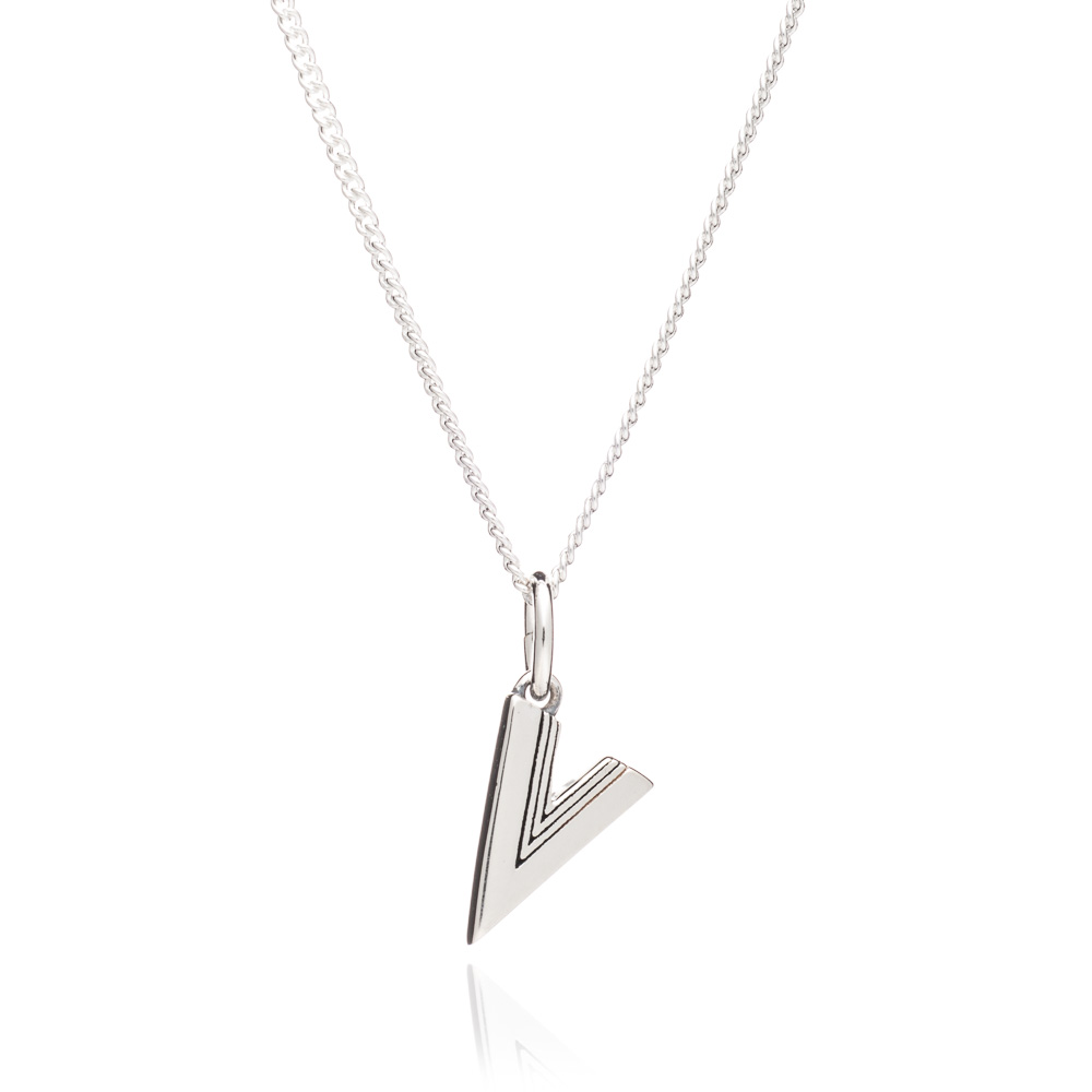 This Is Me 'V' Alphabet Necklace - Silver