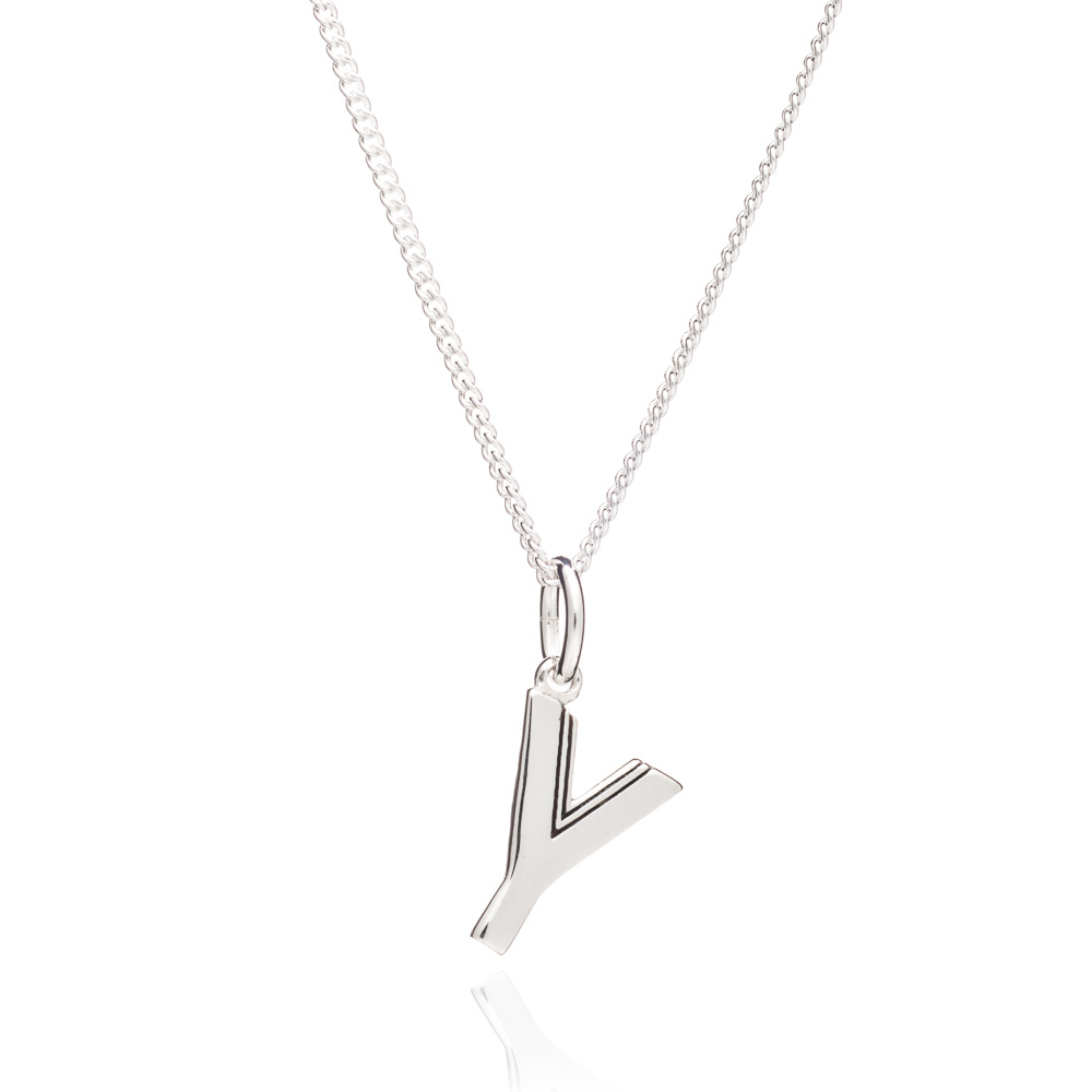 This Is Me 'Y' Alphabet Necklace - Silver