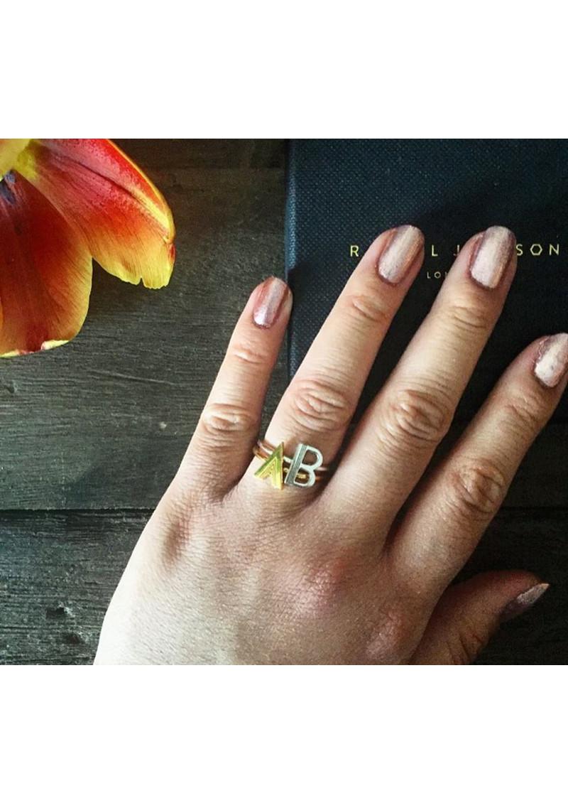 RACHEL JACKSON 'K' Adjustable Alphabet Ring - Silver main image