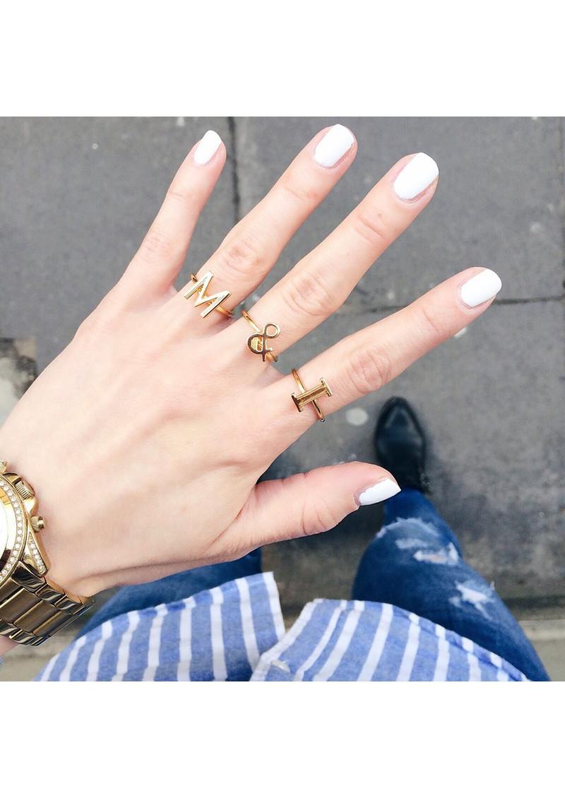 RACHEL JACKSON 'M' Adjustable Alphabet Ring - Silver main image