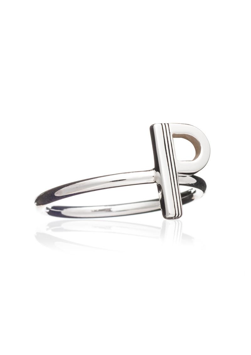 RACHEL JACKSON 'P' Adjustable Alphabet Ring - Silver main image