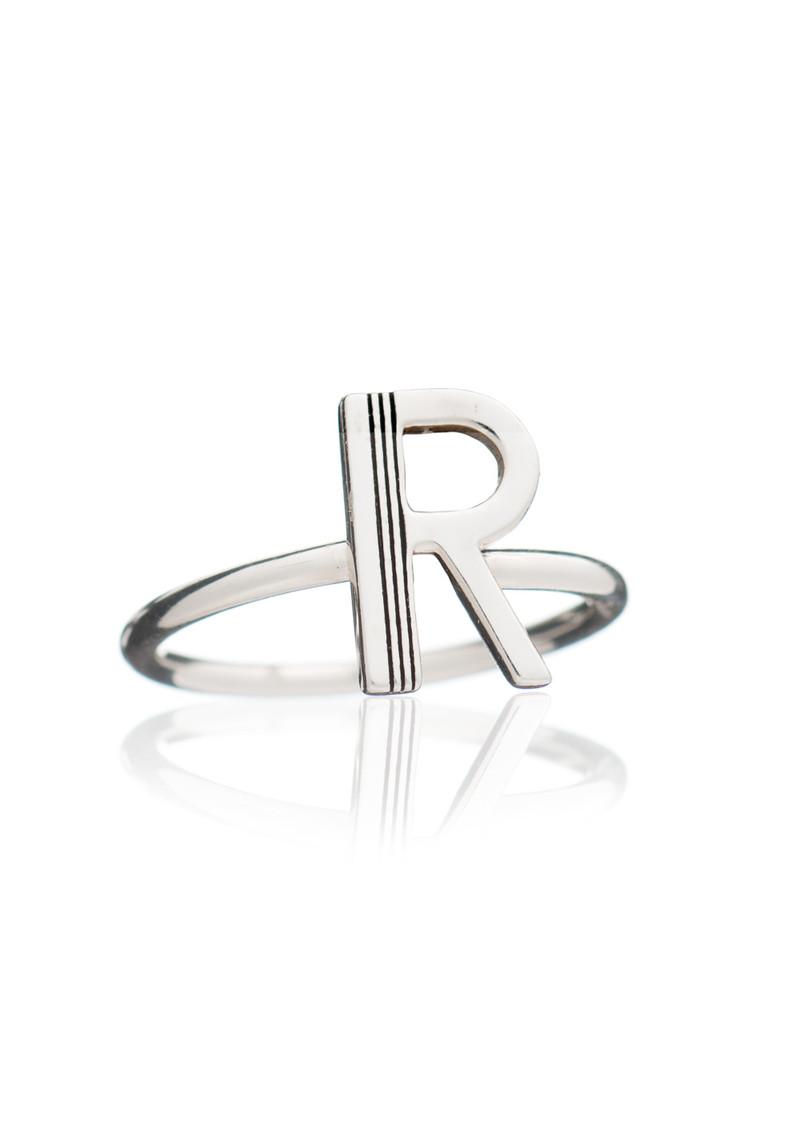 RACHEL JACKSON 'R' Adjustable Alphabet Ring - Silver main image