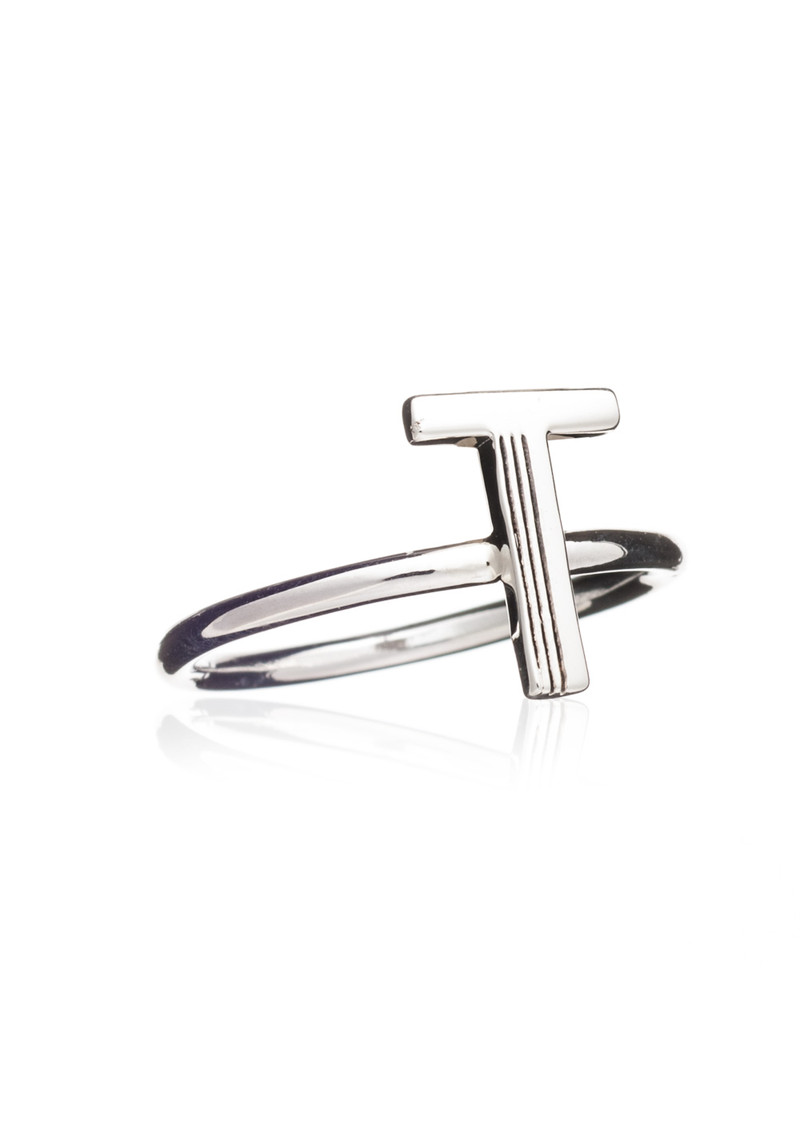 'T' Adjustable Alphabet Ring - Silver main image