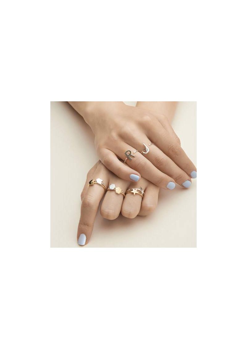 RACHEL JACKSON 'V' Adjustable Alphabet Ring - Silver main image