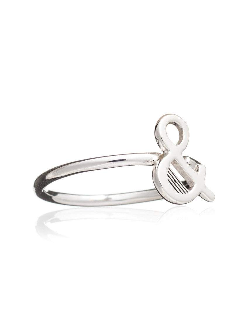 RACHEL JACKSON '&' Adjustable Alphabet Ring - Silver main image