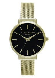 Olivia Burton Hackney Black Dial Watch - Black & Gold