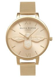 Olivia Burton Moulded Bee Mesh Watch - Gold