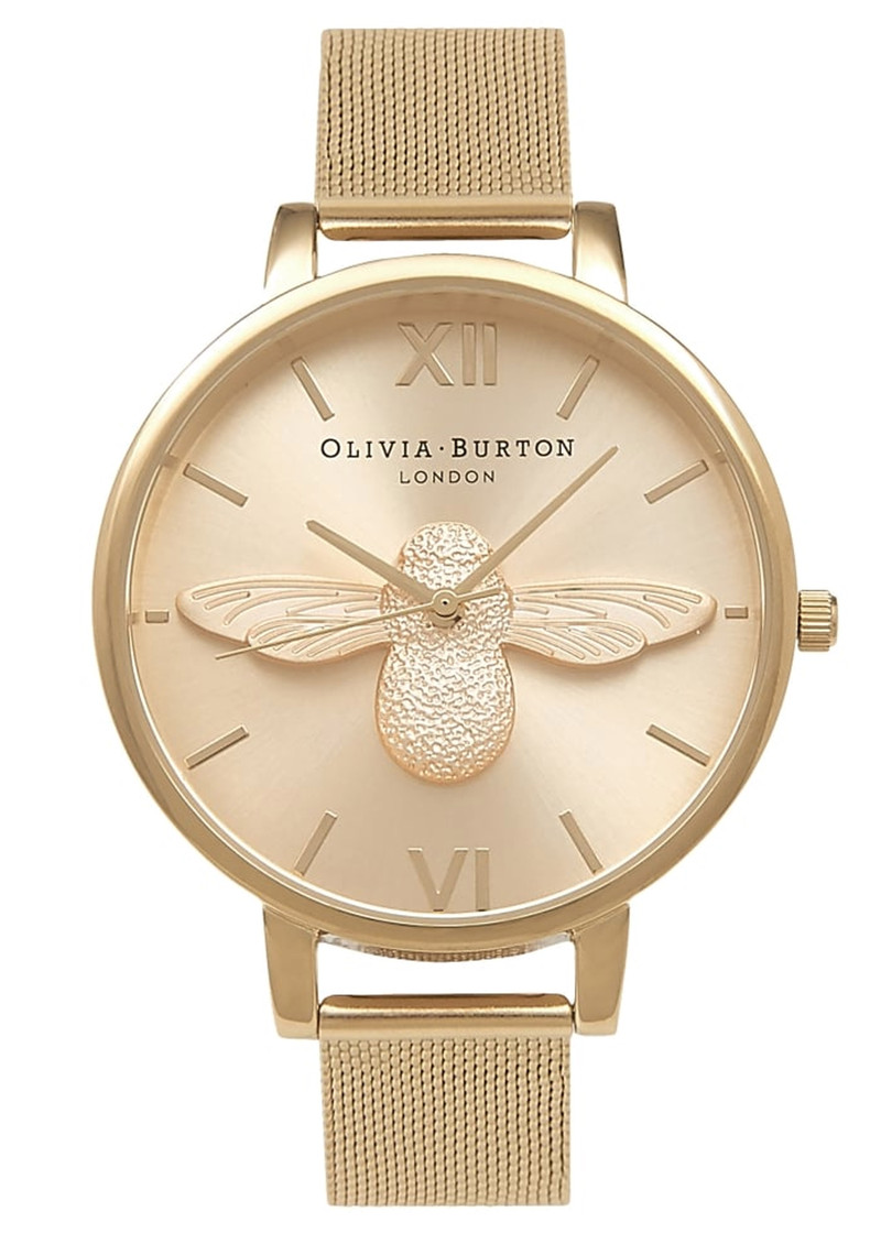 Olivia Burton Moulded Bee Mesh Watch - Gold main image