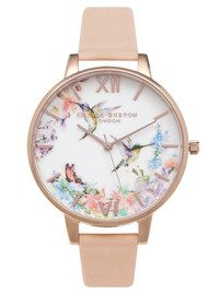 Olivia Burton Painterly Prints Hummingbird Watch - Peach & Rose Gold