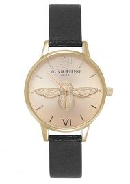 Olivia Burton Midi Moulded Bee Watch - Black & Gold