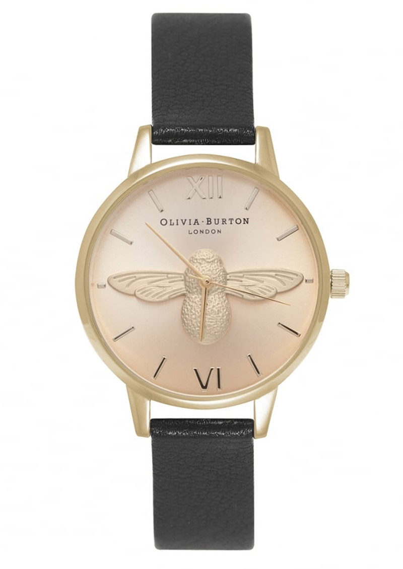 Olivia Burton Midi Moulded Bee Watch - Black & Gold main image