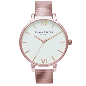 Big Dial Mesh Watch - Rose Gold