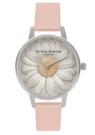Olivia Burton Flower Show 3D Daisy Watch - Dusty Pink & Silver