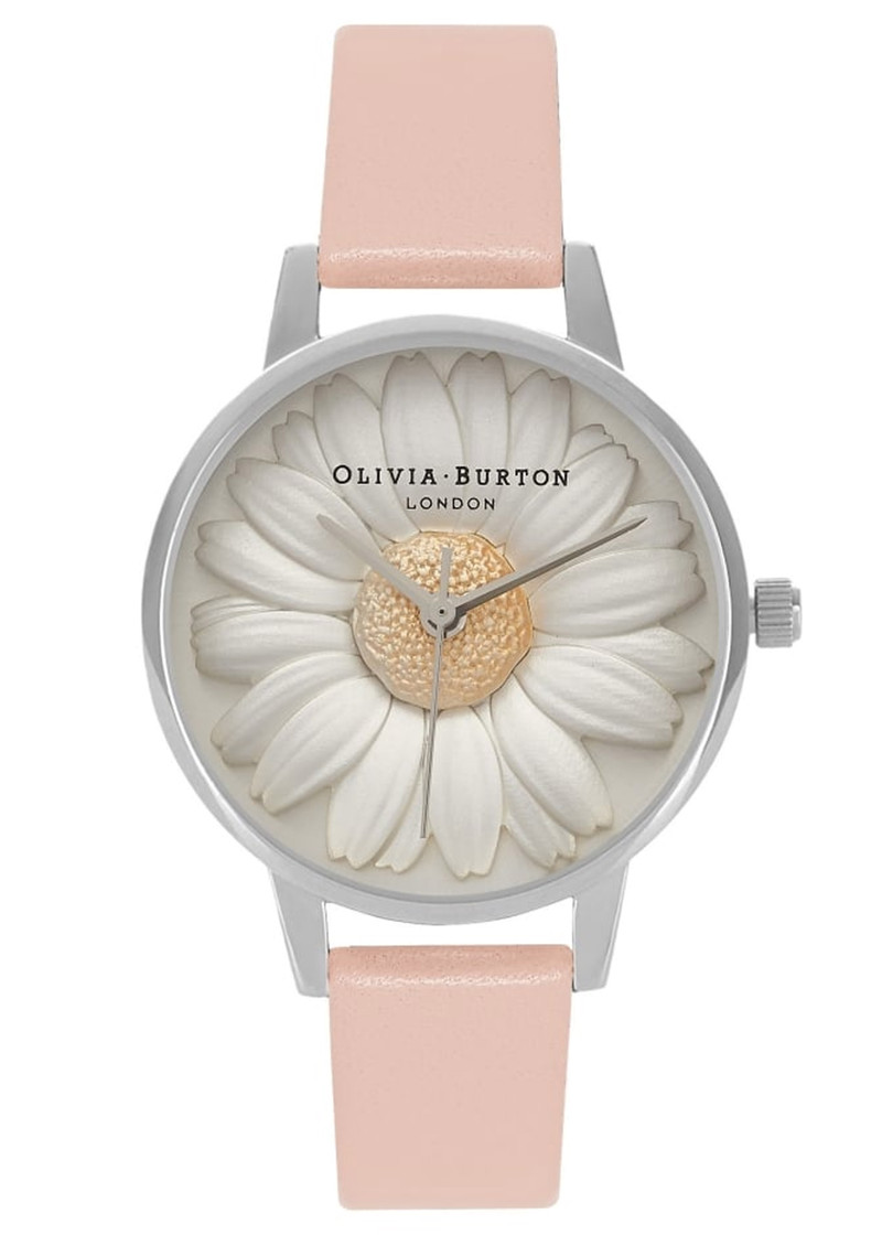 Olivia Burton Flower Show 3D Daisy Watch - Dusty Pink & Silver main image