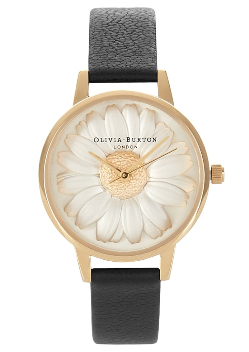 Olivia Burton Flower Show 3D Daisy Watch - Black & Gold main image