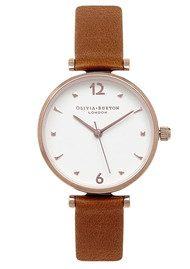 Olivia Burton Modern Vintage T-Bar Watch - Tan & Rose Gold