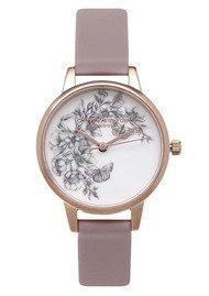 Olivia Burton Animal Motif Butterfly Watch - Grey Lilac & Rose Gold