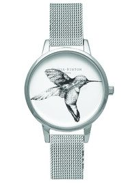 Olivia Burton Animal Motif Hummingbird Mesh Watch - Silver