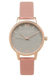 Olivia Burton Midi Dial Grey Dial Watch - Dusty Pink & Rose Gold