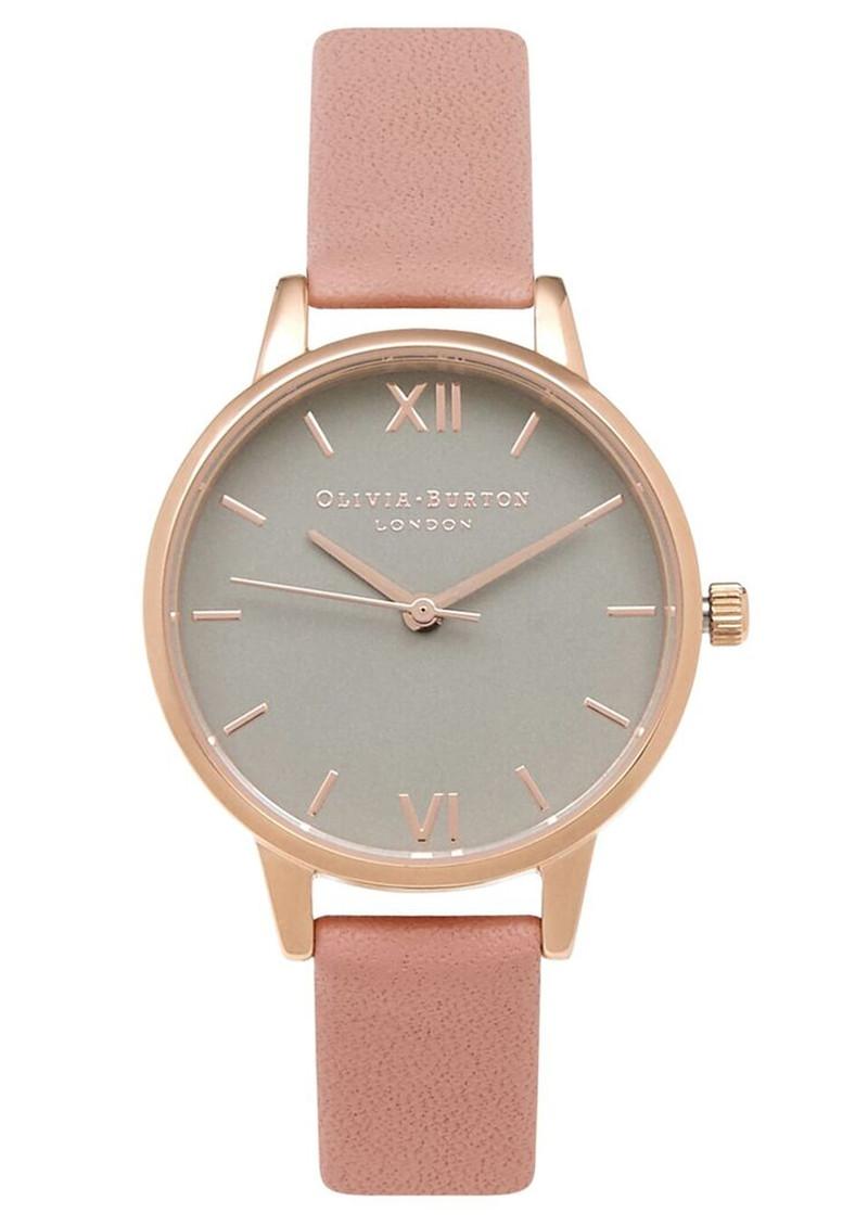 Olivia Burton Midi Dial Grey Dial Watch - Dusty Pink & Rose Gold main image