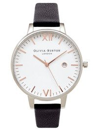 Olivia Burton Timeless White Face Watch - Black, Silver & Rose Gold