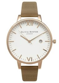 Olivia Burton Timeless White Face Watch - Taupe & Gold