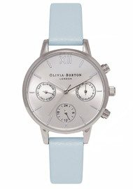 Olivia Burton Midi Dial Chrono Detail Watch - Powder Blue & Silver