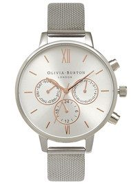 Olivia Burton Chrono Detail Mesh Watch - Silver