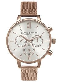 Olivia Burton Chrono Detail Mesh Watch - Rose Gold