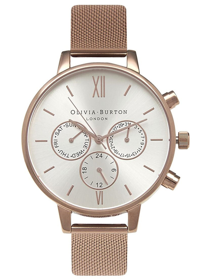 Olivia Burton Chrono Detail Mesh Watch - Rose Gold 615bbd600d