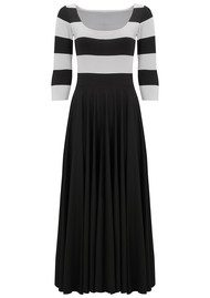 NADIA TARR Mod Stripe 3/4 Length Sleeve Dress -  Black & White