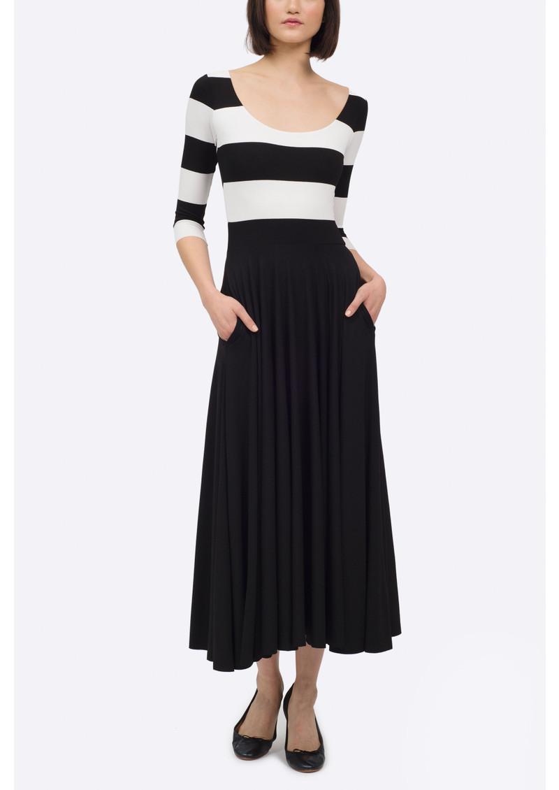 NADIA TARR Mod Stripe 3/4 Length Sleeve Dress - Black & White