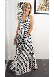 NADIA TARR Low V Neck Variegated Gown - Navy & White