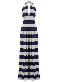 NADIA TARR Striped Halter Neck Jumpsuit - Navy & White