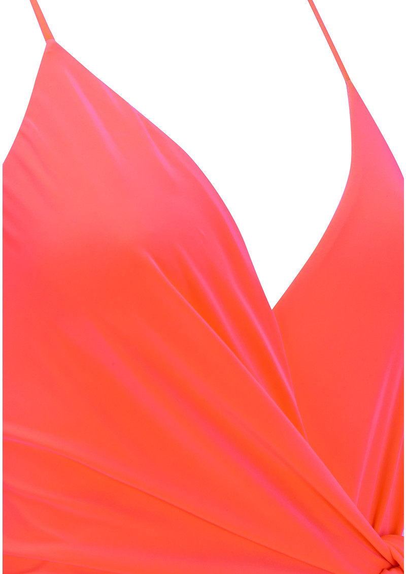 Veronika Wrap Tie Maxi Dress - Neon Orange main image