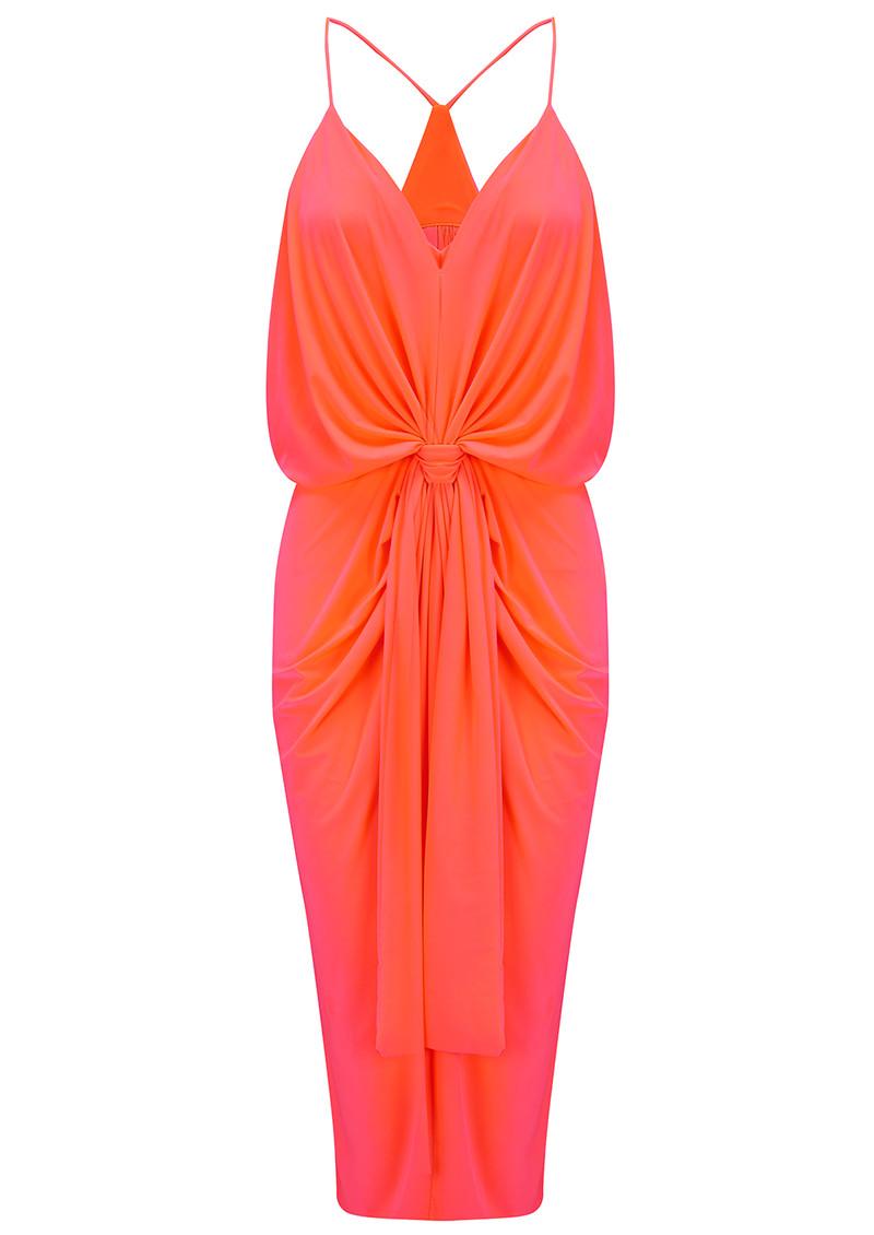MISA Los Angeles Domino Spaghetti Strap Dress - Neon Orange main image