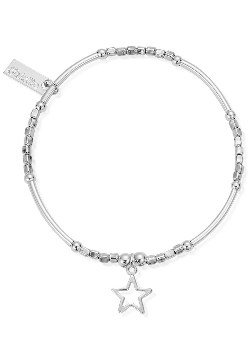 ChloBo Newbies Mini Noodle Cube Small Open Star Bracelet - Silver main image