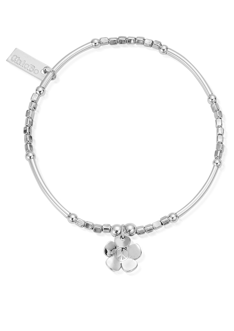 Newbies Mini Noodle Cube Peace Flower Bracelet - Silver main image