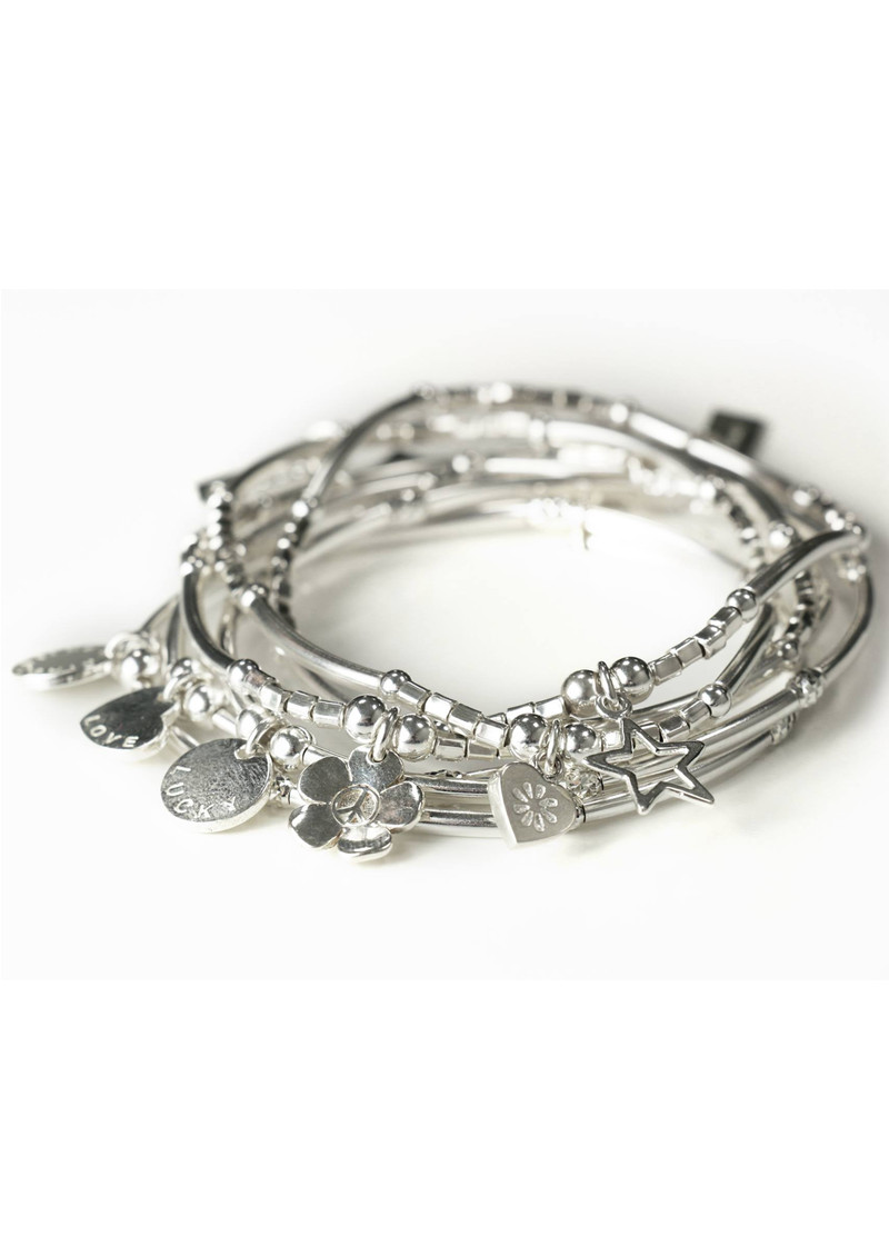 ChloBo Newbies Mini Noodle Sparkle Rice Lucky Disc Bracelet - Silver main image