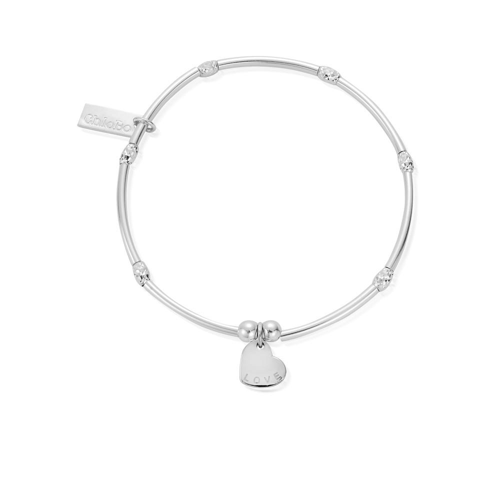 Newbies Mini Noodle Sparkle Rice Love Heart Bracelet - Silver